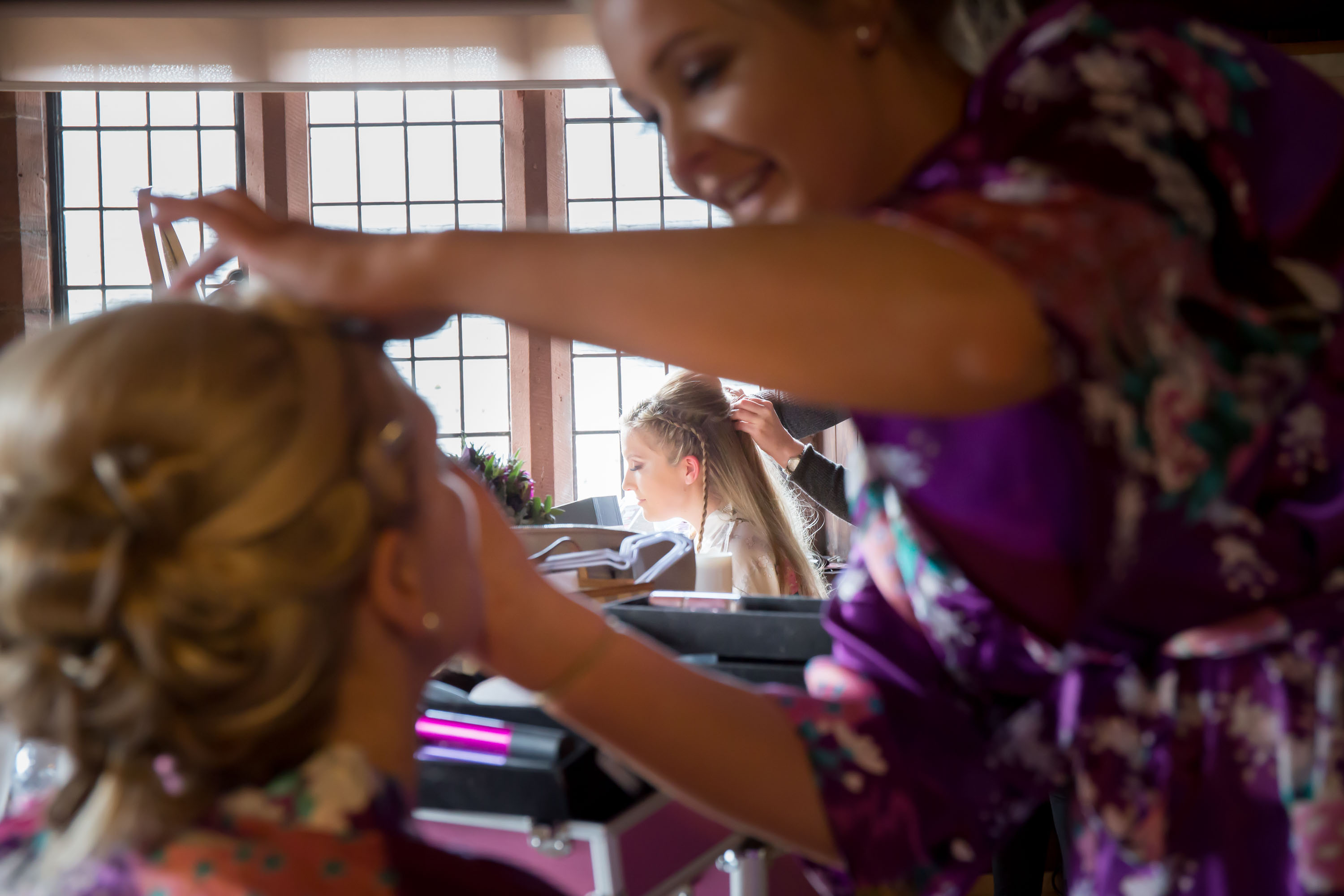 bride gets ready with bridesmaids