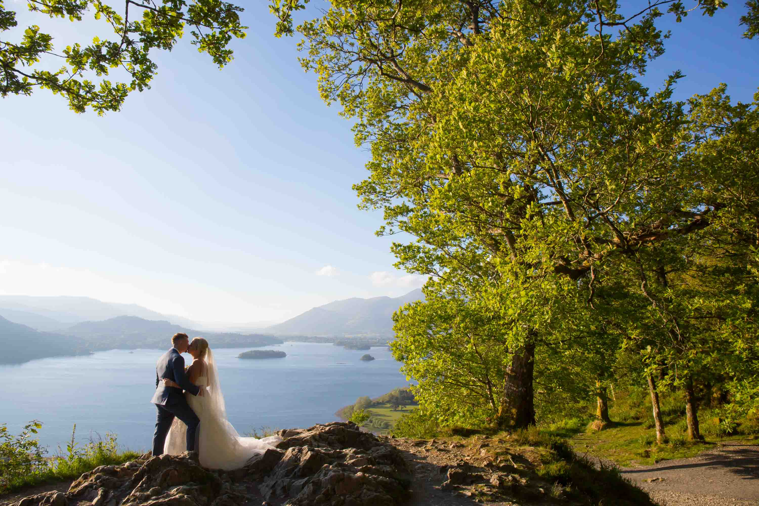 bride and groom wedding portrait at the surprise view overlooking derwent water in the lake district