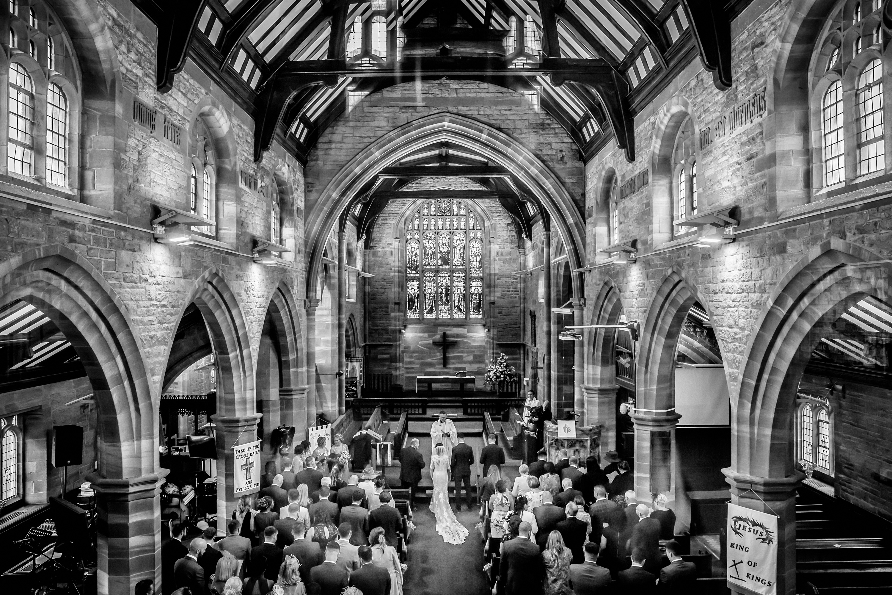 view of wedding from the back of church