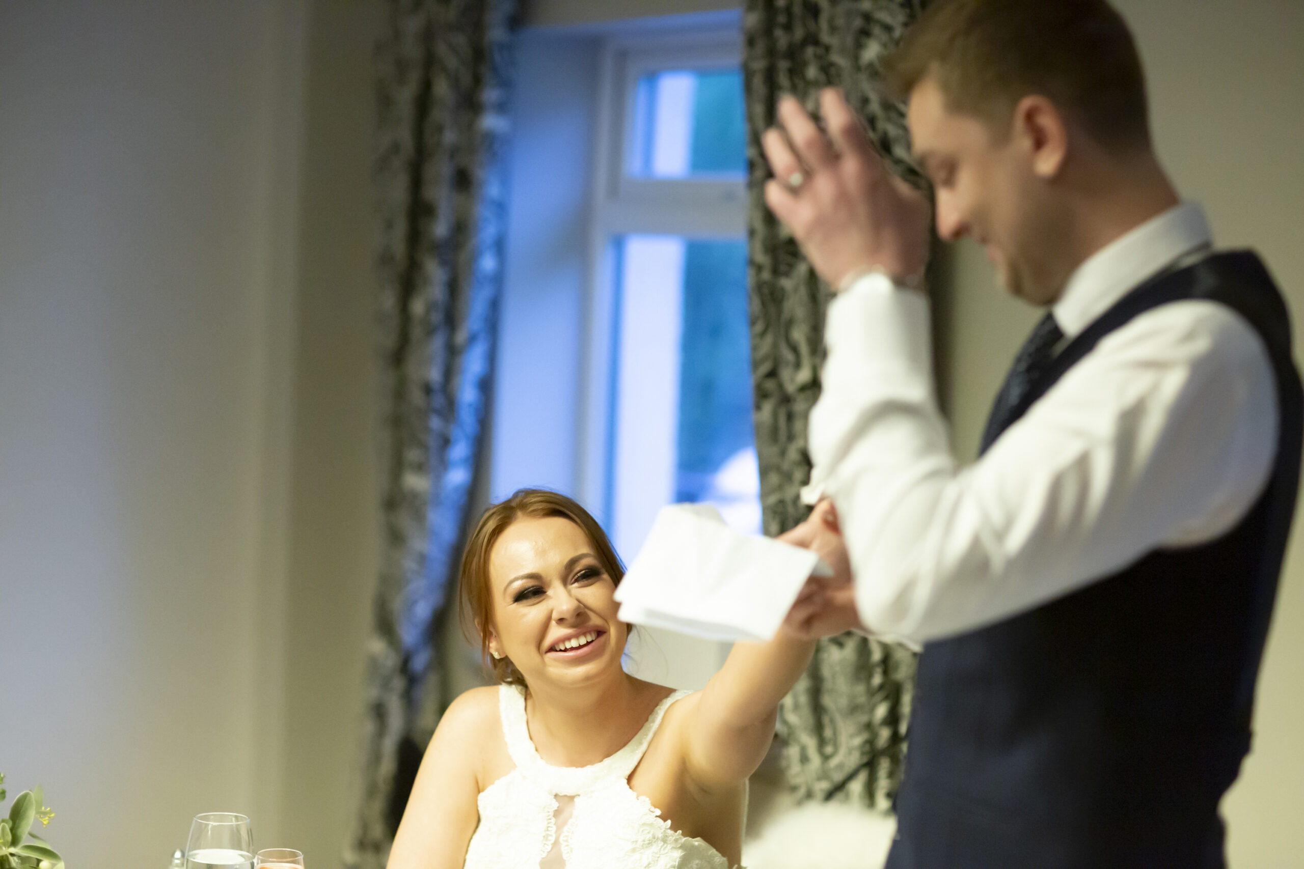 groom gets emotional during his speech at the wedding reception at gretna green hotel