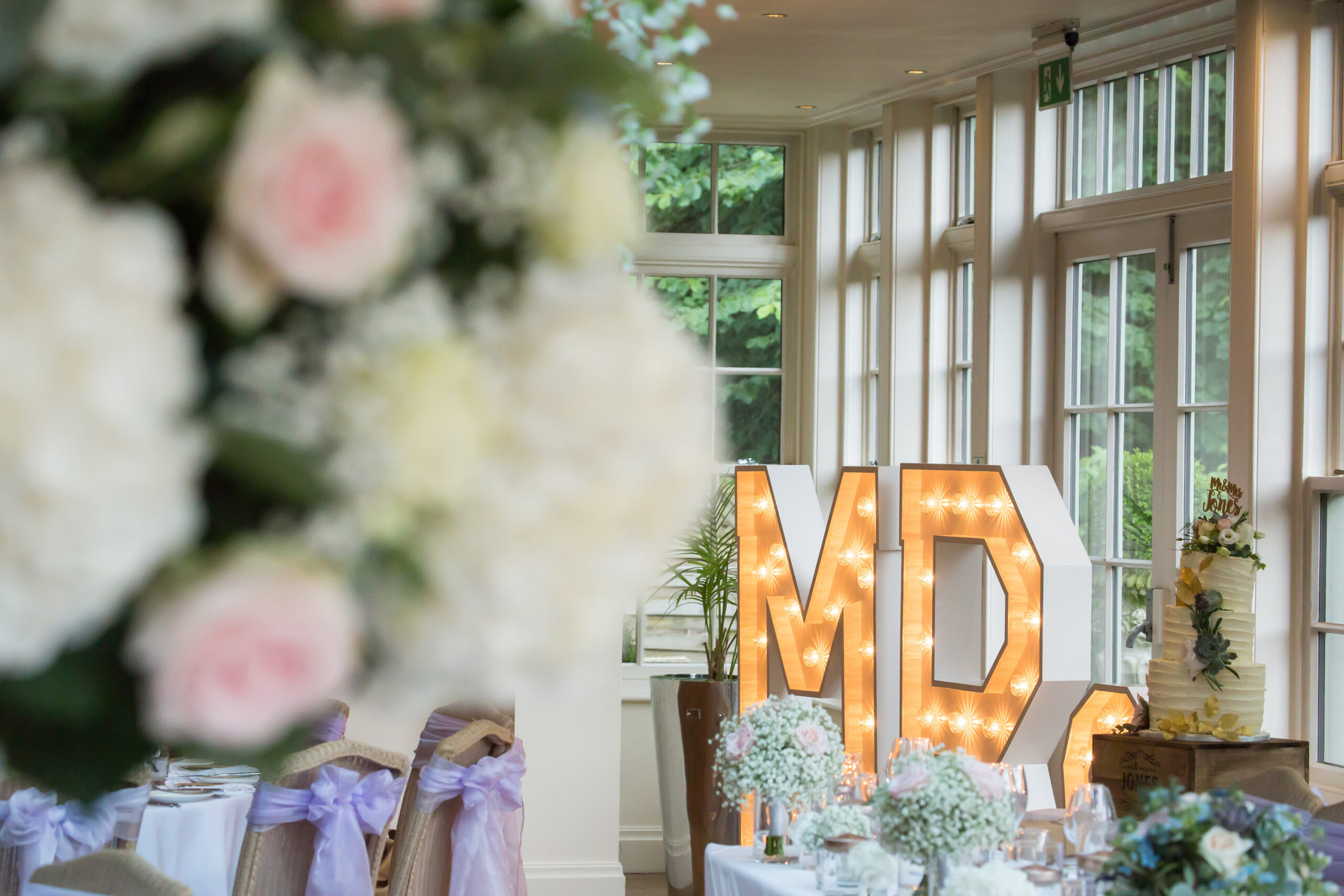 the wedding breakfast room at mitton hall